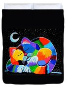 Colorful Cat In The Moonlight Duvet Cover by Nick Gustafson