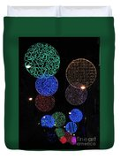 Colorful Christmas Lights Decoration Display In Madrid, Spain. Duvet Cover