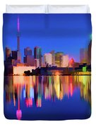 Colorful Cn Tower  Duvet Cover