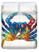 Colorful Crab Art By Sharon Cummings Duvet Cover
