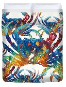 Colorful Crab Collage Art By Sharon Cummings Duvet Cover