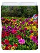 Colorful Dahlias In Garden Duvet Cover