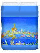 Colorful Detroit Skyline Duvet Cover by Danielle Allard