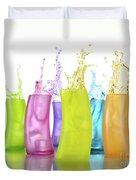 Colorful Drink Splashing From Glasses Duvet Cover