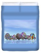 Colorful Eggs For Easter - 3d Render Duvet Cover
