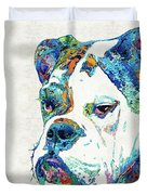 Colorful English Bulldog Art By Sharon Cummings Duvet Cover