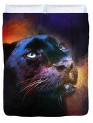 Colorful Expressions Black Leopard Duvet Cover