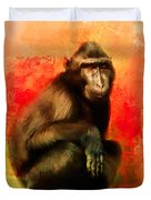 Colorful Expressions Black Monkey Duvet Cover
