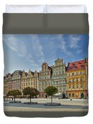 colorful facades on Market Square or Ryneck of Wroclaw Duvet Cover