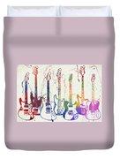 Colorful Fender Guitars Paint Splatter Duvet Cover