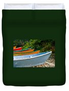 Colorful Fishing Boats On A Rocky Shore  Grand Manan Duvet Cover