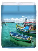 Colorful Fishing Boats Duvet Cover
