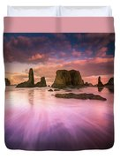 Colorful Flux From Seastacks Duvet Cover