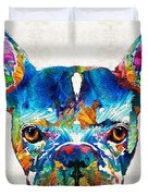 Colorful French Bulldog Dog Art By Sharon Cummings Duvet Cover