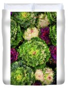 Colorful Green, White And Purple Flowers Painting Duvet Cover