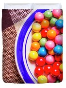 Colorful Gumballs On Plate Duvet Cover