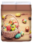 Colorful Hand Painted Easter Eggs In Basket And On Wood Duvet Cover