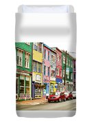 Colorful Houses In St Johns In Newfoundland Duvet Cover