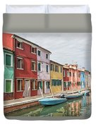 Colorful Houses On The Island Of Burano Duvet Cover