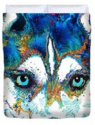 Colorful Husky Dog Art By Sharon Cummings Duvet Cover