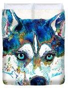 Colorful Husky Dog Art By Sharon Cummings Duvet Cover