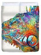 Colorful Iguana Art - One Cool Dude - Sharon Cummings Duvet Cover