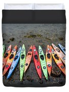 Colorful Kayaks  Duvet Cover