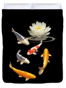 Colorful Koi With Water Lily Duvet Cover
