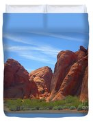 Colorful Landscape Rock Mountains Of Overton Nevada  Duvet Cover