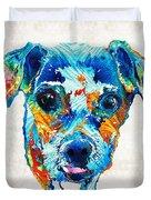 Colorful Little Dog Pop Art By Sharon Cummings Duvet Cover