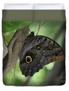 Colorful Markings On A Blue Morpho Butterfly On A Tree Trunk Duvet Cover
