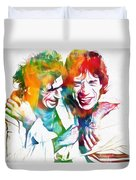 Colorful Mick And Keith Duvet Cover