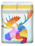 Colorful Moose Head Duvet Cover