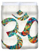Colorful Om Symbol - Sharon Cummings Duvet Cover