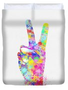 Colorful Painting Of Hand Point Two Finger Duvet Cover