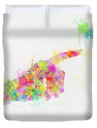 Colorful Painting Of Hand Pointing Finger Duvet Cover