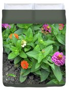 Colorful Pink And Orange Flowers In Green Leaves Bush In The Garden. Duvet Cover