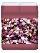 Colorful Pink Tasty Grapes In The Basket Duvet Cover