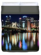 Colorful Pittsburgh Lights Duvet Cover