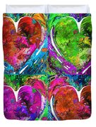 Colorful Pop Hearts Love Art By Sharon Cummings Duvet Cover