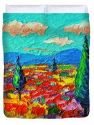 Colorful Poppies Field Abstract Landscape Impressionist Palette Knife Painting By Ana Maria Edulescu Duvet Cover