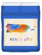 Colorful Puerto Rico Map Duvet Cover