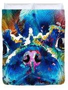 Colorful Pug Art - Smug Pug - By Sharon Cummings Duvet Cover
