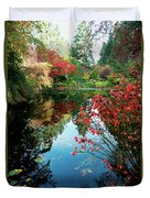 Colorful Reflection In Autumn Gardens. Duvet Cover