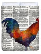 Colorful Rooster On Vintage Dictionary Duvet Cover by Hailey E Herrera