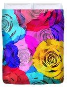 Colorful Roses Design Duvet Cover