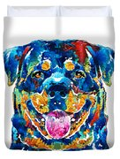 Colorful Rottie Art - Rottweiler By Sharon Cummings Duvet Cover
