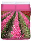Colorful Rows Of Tulips Duvet Cover