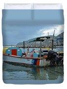 Colorful Saint Martin Power Boat Caribbean Duvet Cover