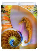 Colorful Seahorse And Nautilus Shell Duvet Cover
